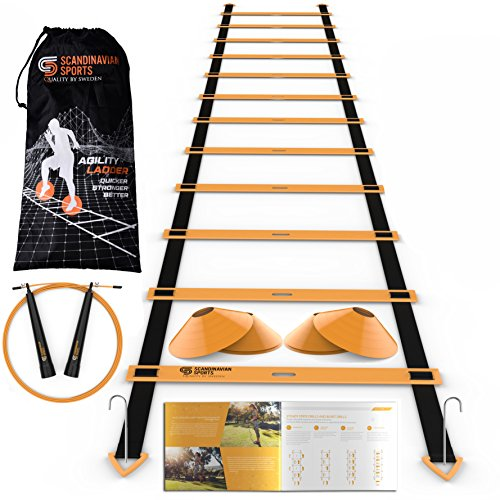 Scandinavian Sports Speed Training Set - Agility Ladder, Jump Rope, Sport Cones and Exercise Folder - Premium Training Tool Set for Faster Footwork and Better Movement Skills