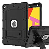 iPad 7th Generation Case, iPad 10.2 2019 Case, Hybrid Shockproof Rugged Drop Protection Cover Built with Kickstand for iPad 10.2 inch 7th Generation A2197 / A2198 / A2200 2019 Release (Black)