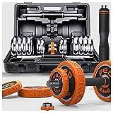Kit Musculacion 15 Kg de Carga Ajustable con Mancuernas de Fitness Peso Kit 2 en 2 Familia y Gimnasia Dedicado Dumbbell Set Barra Conjunto Mancuerna Dumbbell, Mancuerna Dama Hombres