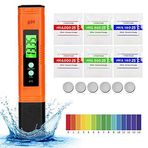 PH Messgerät PH Wert Messgerät Digital, Mture PH Tester Pool mit LCD Anzeige ATC Wasserqualität Tester für Trinkwasser, Hydroponic, Aquarium und Labor (Orange)