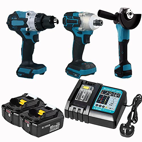 Power Tool Set, Impact Driver, Angle Grinder, Electric Drill, 2 X 18V Battery and Fast Charger Compatible for Makita Cordless Kit Combo Kit