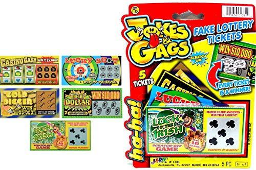 JA-RU Fake Lottery Ticket Scratch Tickets (5 Tickets / 1 Pack) Pranking...