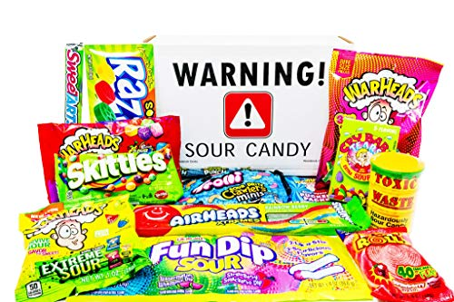 Super Sour Candy Assortment with Toxic Waste, Sour Patch Kids, Warheads Extreme Hard Candy, Belts,...