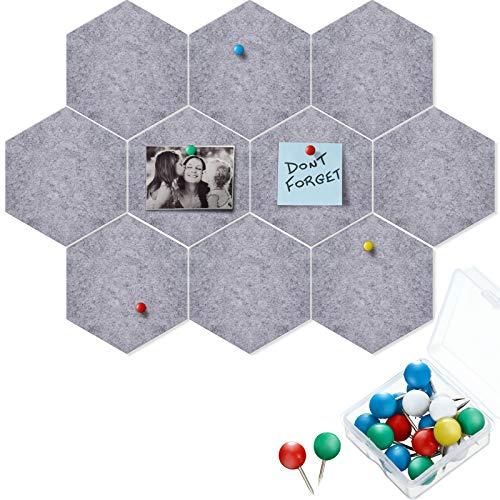 10 Paquetes de Tablero de Anuncios de Fieltro Tablero de Notas Hexagonal de Azulejos con 20 Pasadores de Empuje, Decoración para Pared de Aula (Gris, 5,9 x 7 Pulgadas/ 15 x 17,7 cm)