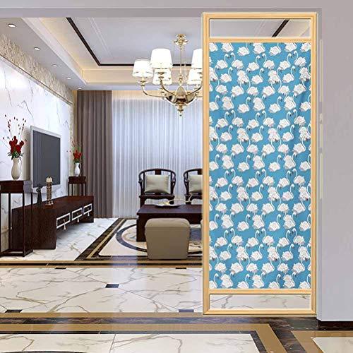 Película decorativa para manualidades, cisnes suaves de cisnes, cisnes blancos en azul pálido Ri, sala de estar, dormitorio, cocina, vestíbulo, porche, oficina, 17.7 x 78.7 pulgadas