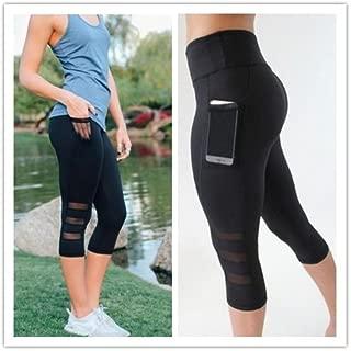 Naomi Side Phone Pocket Yoga Pants Women Sportswear Fitness Sports Leggings Running Tights for Female Summer Black L