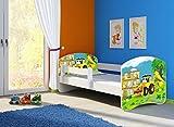 Clamaro 'Fantasia Weiß' 140 x 70 Kinderbett Set inkl. Matratze und Lattenrost, mit verstellbarem Rausfallschutz und Kantenschutzleisten, Design: 20 Bagger