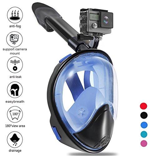 Zenoplige Duikmasker met 180 graden Vision Snorkel Set Met Verstelbare Gomas Voor Volledig Gezicht en Snorkel Incorporated, Ondersteunt Zenoplige Sport en GoPro Camera Blauw L/XL