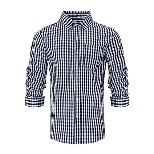 RAISEVERN Herren Hemden Langarm Formal Checekd Kleidung KleinKarierte Hemd Karohemd Herren Trachtenhemd gebürstet Baumwollehemden Freizeit Schwarz