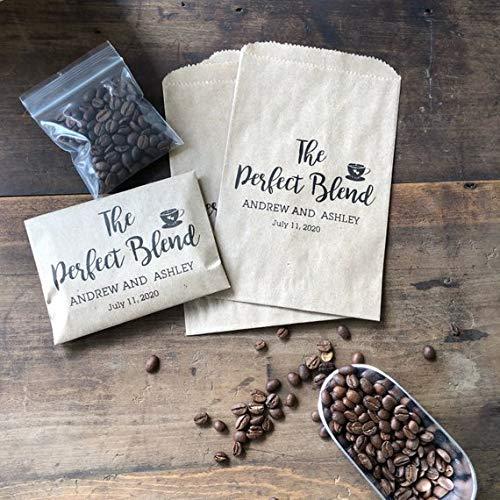 Bridal Shower Coffee Favor - Coffee Favor Bag- Wedding Favor - Coffee Bean Espresso Favor - Custom Paper Bags The Perfect Blend