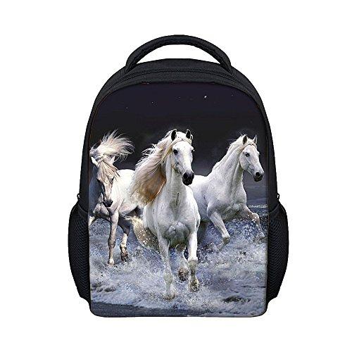 Moolecole 3D Pferde Daypack Kinderrucksack Kinderrucksack Kleinkind-Jungen-Mädchen-Kinderzimmer-Schule-Beutel