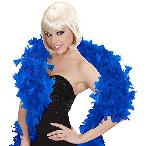 WIDMANN- Sciarpa con Piume Deluxe Blu Donna, Multicolore, 45515