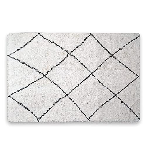LAMARE Alfombra Skönt - Rombo Grande - 90 x 150 cm - 100% algodón