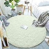 Alfombras mullidas súper Suaves, alfombras de Terciopelo, alfombras Redondas, Hermosas alfombras de Dormitorio mullidas, adecuadas para Cojines de sofá de baño (Blanco, 120x120cm)