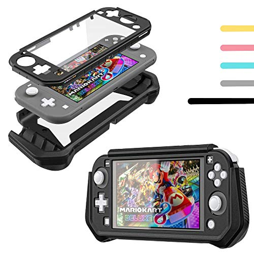 Switch Lite Case for Nintendo Switch Lite Protective Case Cover Skin Accessories - Grip Cover with Built-in PC Screen Protector - Split Cover TPU+PC Case with Anti-Scratch and Shock-Absorption - Black