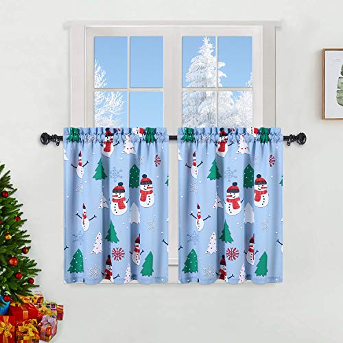 """Haperlare Snowman Kitchen Curtains for Bathroom, Multicolor Xmas Tree Snowflake Print Small Tier Curtains, 30 Inch Café Curtain Set, 27"""" x 30"""", Light Blue/Green/Red, Set of 2"""