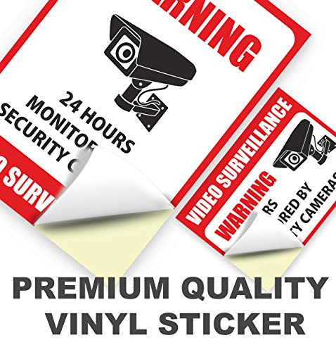 10 Pack Video Surveillance Sign Stickers - Self-Adhesive Vinyl Decal Camera Alarm System Stickers - 24 Hours Security Warning Signs - Monitored by Security Camera Stickers - Indoor