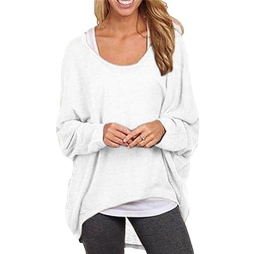 Mujeres Camiseta con Mangas Largas de Murciélago Cuello Redondo Camisa Blusa Suelto Jumper Pullover Sudadera Sweater Blanco S