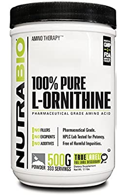 NutraBio 100% Pure L-Ornithine Powder - 500 GRAMS by NutraBio