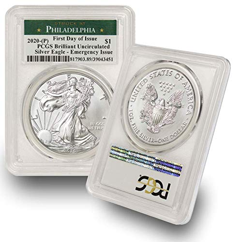 2020 Philadelphia Mint (P) Silver American Eagle Brilliant Uncirculated (First Day of Issue - Emergency Production) Green Label by CoinFolio $1 BU PCGS