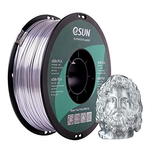 eSUN Filamento PLA Seta Metallo 1.75mm, Stampante 3D Filamento PLA, Precisione Dimensionale +/- 0.05mm, Bobina da 1KG (2.2 LBS) Materiali di Stampa 3D per Stampante 3D, Argento Seta