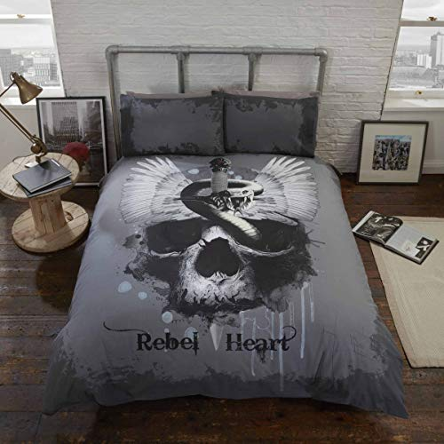 Rebel Heart Single Bed Duvet Cover and Pillowcase Set Gothic Skull, Polyester, Grey