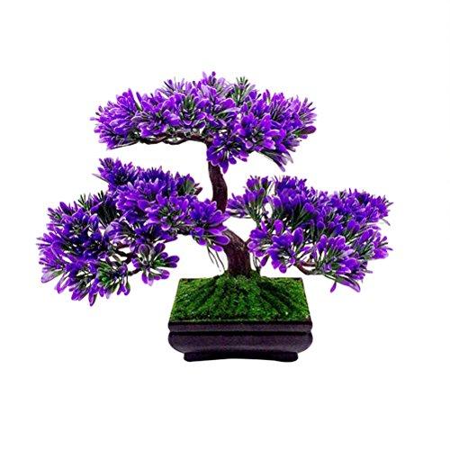 VOSAREA Artificial Bonsai Tree 9.4' Potted Artificial House Plants Fake Plants Decoration for Home Desk Office Decor (Purple)