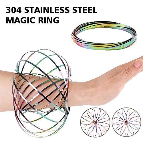 HAS 304 Stainless Steel Firm Flow Ring Magic Bracelet Toy for Stress Relief Kinetic Science Educational Spring Ring Multi - Sensory Interactive Cool Dance Prop 1PCS (Rainbow)