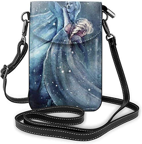 XCNGG Telefontasche Fro-zen Art Lightweight Small Crossbody Bags Leather Cell Phone Purses Travel Pouch Shoulder Bag Wallet With Credit Card Slots for Women