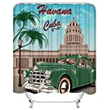 changchuan Shower Curtain Sets Havana Cuba Retro Car Vintage Sign Travel 1950S 1960S 1970S Polyester Fabric Decor with 12 Hooks 72x72 Inches Waterproof Washable 12 Buttonholes for Bathroom 66x72 Inch