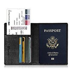 Idea Regalo - Fintie Porta Passaporto da Viaggio Portafoglio in PU Ecopelle Porta con Protezione RFID per carta di credito ID Documenti Custodia, Nero