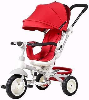 Baby trehjuling Trolley Barn cykelkärra Umbrella Child Bicycle (Color : Red)