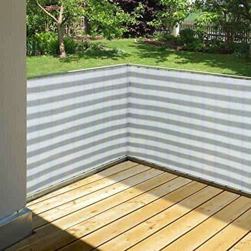 Balkonsichtschutz grau/weiß 90 x 500 cm aus HDPE: wetterfest & langlebig :: Wind- und Sichtschutz für Balkon, Terrasse, Garten ohne bohren