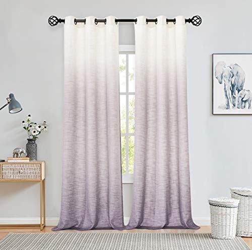 """Central Park Ombre Window Curtain Panel Linen Gradient Print on Rayon Blend Fabric Drapery Treatments for Living Room/Bedroom, Cream White to Lavender Purple, 40"""" x 84"""", Set of 2"""
