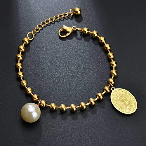 YANOUHZ Medalla De Oro De La Virgen María Pulsera Colgante De Perlas De Imitación Ajustar La Longitud Pulseras para Las Mujeres Joyería Amuleto