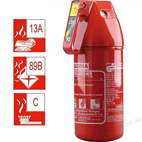 Feuerlöscher (Wirksamkeit: 13-89B-C) | 2 kg Feuerlöscher. von ABC Pulver | Modell: F2GM | Gloria Brand Multi-Anwendung, für Autos, Boote, Wohnwagen, Häuser, Geschäftsräume und vieles mehr.