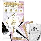120 Stück Marmor Papier 100g/qm plus 5 Blatt Kraftpapier, DIY DIN A4 Briefpapier beidseitig Druck Kommunion, Papierrolle für Landkarte, Kinder Schatzsuche, Historische Einladungen, Auszeichnungen