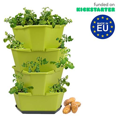 Paul Potato Starter Kartoffelturm - stapelbar - Hochbeet/Pflanzgefäß/Blumentopf für Balkon, Garten und Terrasse (4 Etagen, Grün) inkl. Untersetzer