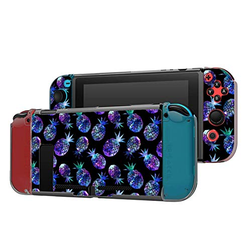Dockable Case Compatible with Nintendo Switch Console and Joy-Con Controller, Patterned ( Nebula Galaxy Color Pineapple ) Protective Case Cover with Tempered Glass Screen