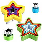 Star Cookie Cutter Set - Star Cookie Mold for Homemade Treats - Stainless Steel and Plastic Cookie Cutter molds for Kids Suitable for Cakes Sandwiches Vegetables Fruits and Cookies (Assorted Sizes)