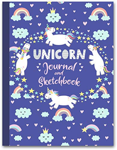 "Unicorn Journal and Sketchbook: Journal and Notebook for Girls - Composition Size (7.5""x9.75"") With Lined and Blank Pages, Perfect for Journal, Doodling, Sketching and Notes"