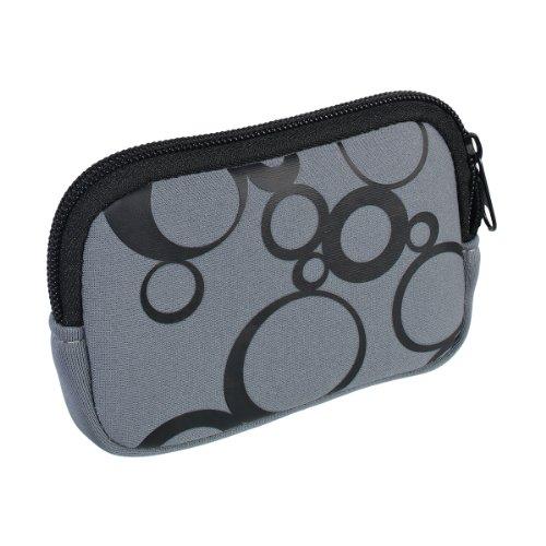 vyvy mobile® stylische Neopren Universal Kameratasche für Kompaktkameras Circles Grau