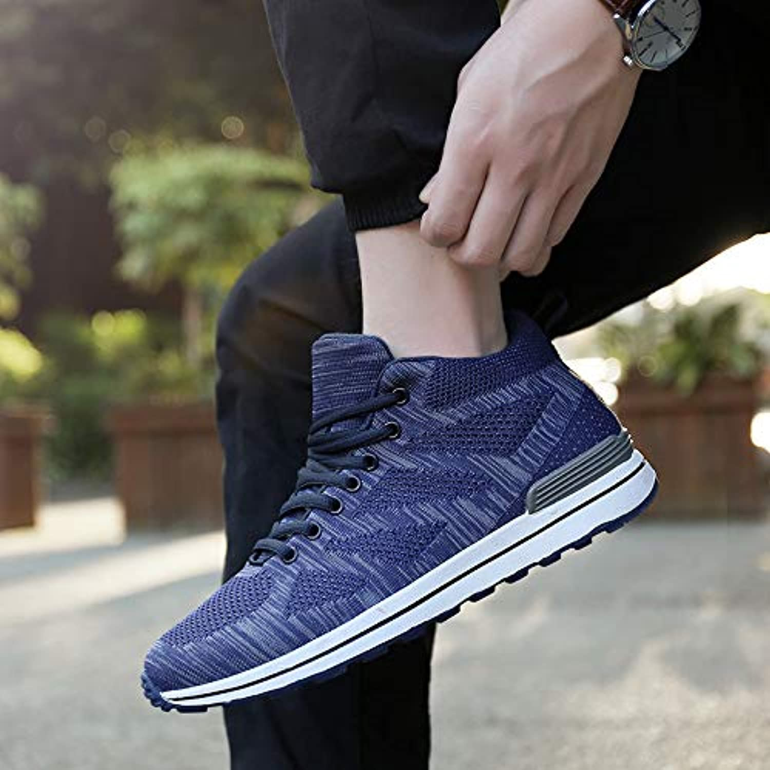 LOVDRAM Men's shoes Flying Woven Mesh Cloth Fashion Running shoes Sneakers Spring And Summer Autumn Men'S shoes Running shoes Sneakers Low Help