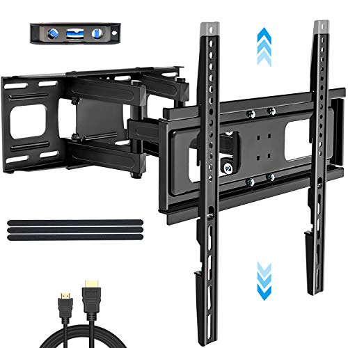 KDG TV Wall Mount Full Motion for 32-65 Inch Flat and Curved TVs , Dual Arms Articulating TV Mount Bracket Swivel and Tilt Extension with Height Setting, Max VESA 400x400mm Max Load 121lbs