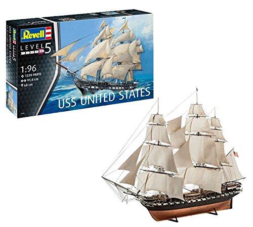 Revell 05606 Modellbausatz Schiff USS United States im Maßstab 1:96, Level 5, orginalgetreue Nachbildung mit vielen Details, Segelschiff