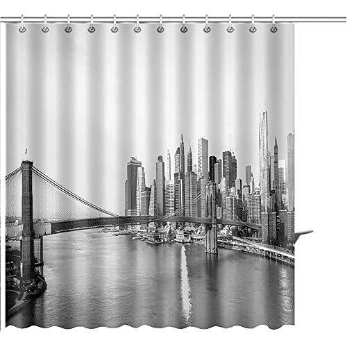 D-M-L Duschvorhang-New- York Cityskyline Mit Brooklyn-Brücken-Lower Manhattan-Ansicht In Helle Grafische Polyester-Badezimmer-Sätze des Frühen Morgens Sun 122X183CM