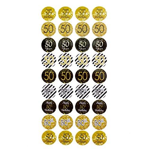 Oblique Unique® 50. Geburtstag Jubiläum goldene Hochzeit Sticker Aufkleber 108 Stück Feier Party Dekoration