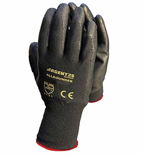 12 Paar Arbeitshandschuhe Montage-Handschuhe mit PU-Beschichtung   XS-3XL   Nylon-Handschuhe nahtlos   Wasserabweisende Grip-Handschuhe   Schutzhandschuhe