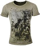 Key Largo Herren T-Shirt Washington Totenkopf Skull Print Motiv Vintage Look Tiefer Rundhals Ausschnitt taillierte Körperbetonte Passform MT00100, Grösse:S, Farbe:Grün