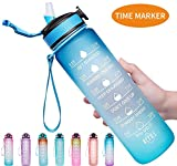 Venture Pal 32oz Motivational Fitness Sports Water Bottle with Time Marker & Straw, Large Wide Mouth...